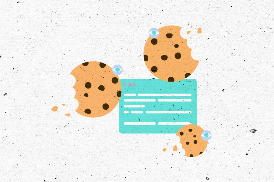 Illustration of a web browser surrounded by three cookies