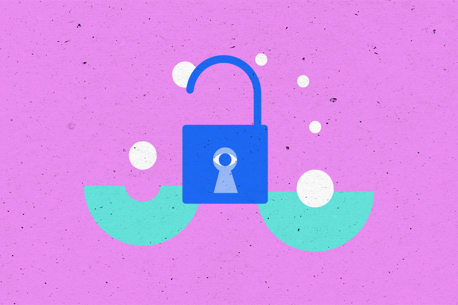 Illustration of a lock with two half circles on either side