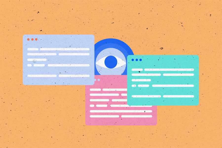 Illustration of multiple web pages and an eye in the background