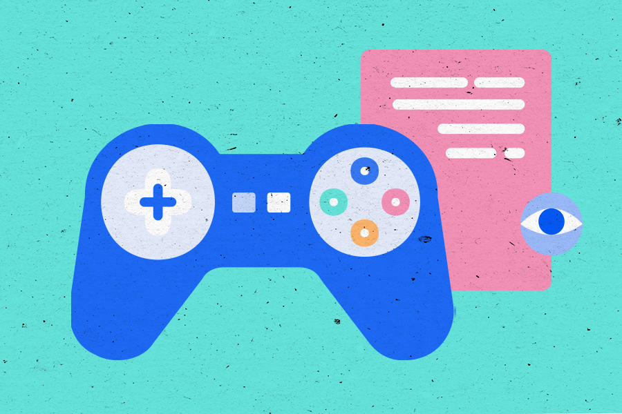 Illustration of a gaming controller and a document