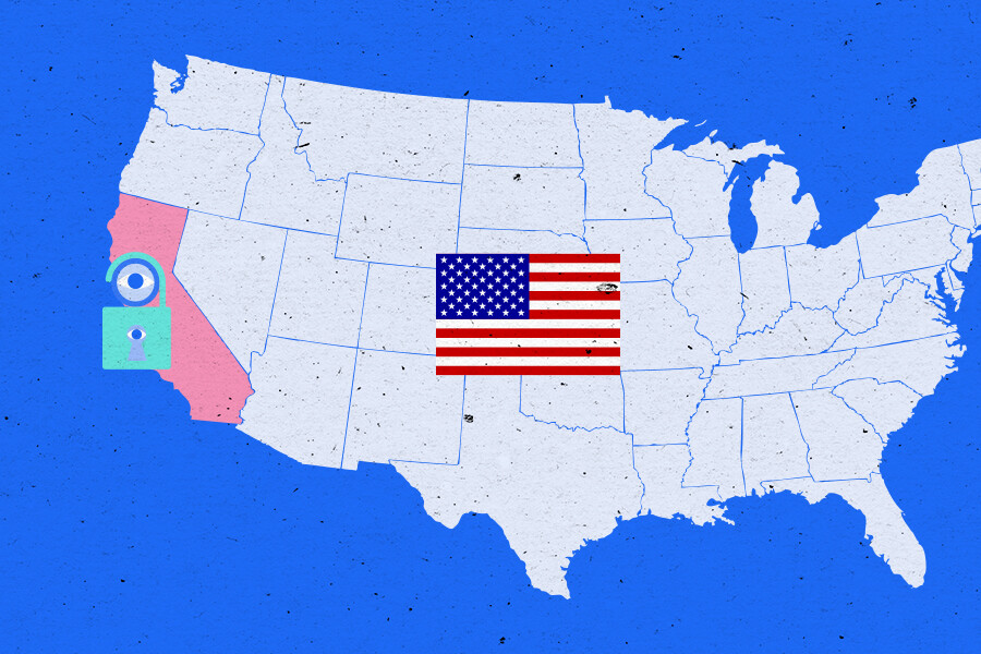 Map of the US states, highlighting California
