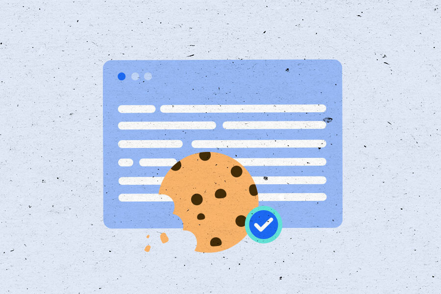Illustration of a web page with a cookie on top