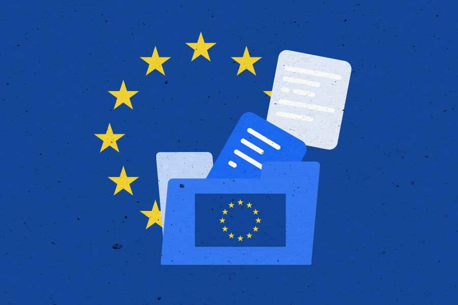 Illustration of folder with documents, stars from EU flag in the background