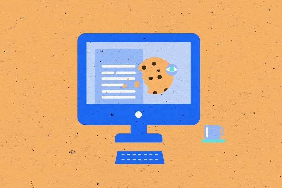 Illustration of computer with document and cookie on the screen
