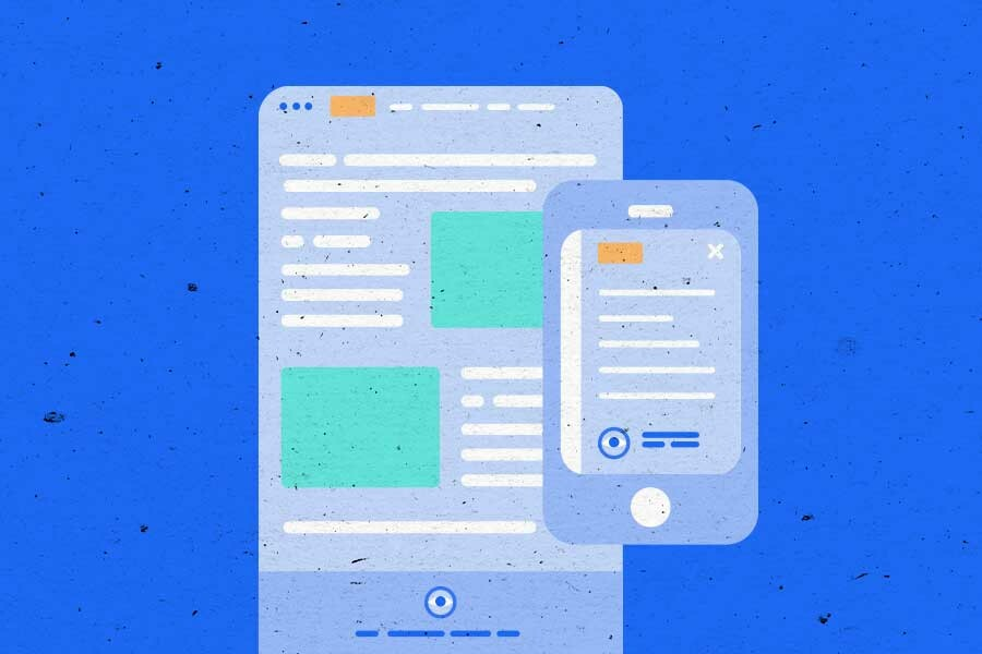 Illustration of a web page and mobile web page