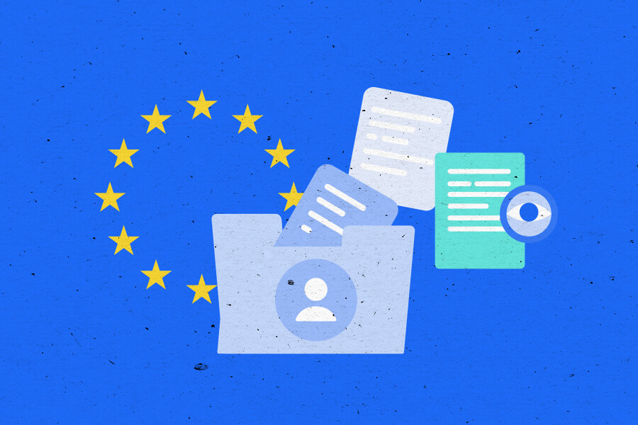 Illustration of a folder of documents and the stars from the EU flag in the background