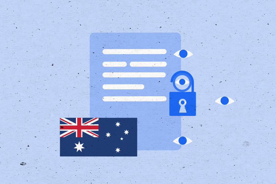 Illustration of a document with a lock and Australian flag layered on top