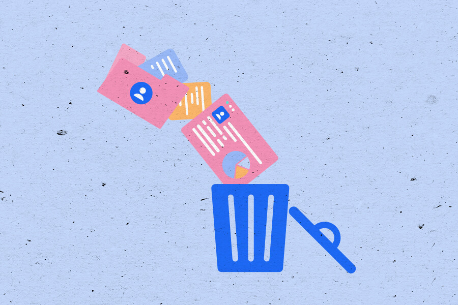 Illustration of documents with personal details going into a trash can