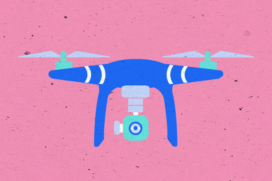 Illustration of a drone with camera and GetTerms logo