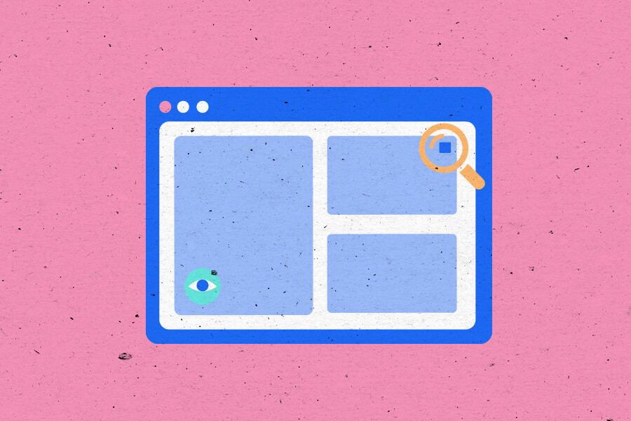 Browser window illustration showing a tiny pixel in the corner of the screen and a magnifying glass